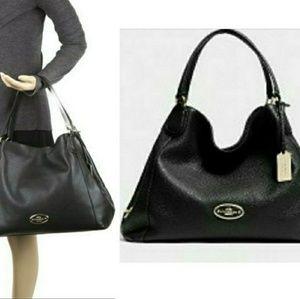 Coach Edie Black Leather Shoulder Bag